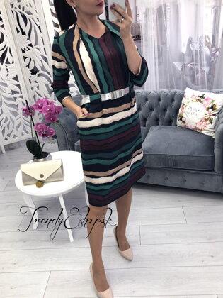 1e467cd7333b Elegantné šaty De Couleur - zeleno-čierne P2794