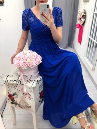 4b4971b6c8c1 Dlhé spoločenské šaty Byanca - parížske modré P2759